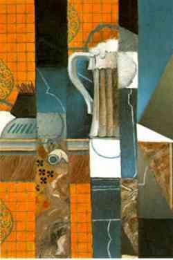 Movimento Dada -Juan Grist -Bicchiere di birra e carte da gioco