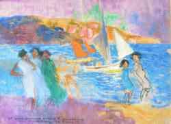 Divisionismo - Chiacchiere sulla spiaggia  Plinio Nomellini