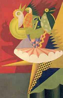 Fortunato Depero - Rotazione di ballerina e pappagalli 1917