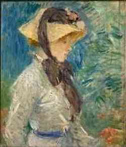 impressionismo di Berthe Morisot - Young Woman with a Straw Hat* 1884
