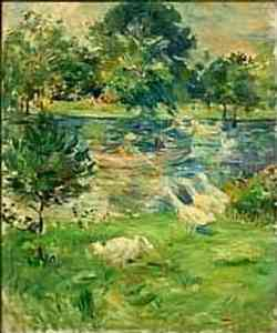 impressionismo di Berthe Morisot - Girl in a Boat with Geese (ca. 1889)