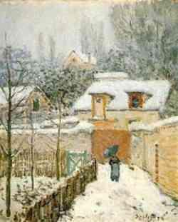impressionismo di Alfred Sisley- Neve a Louveciennes 1874