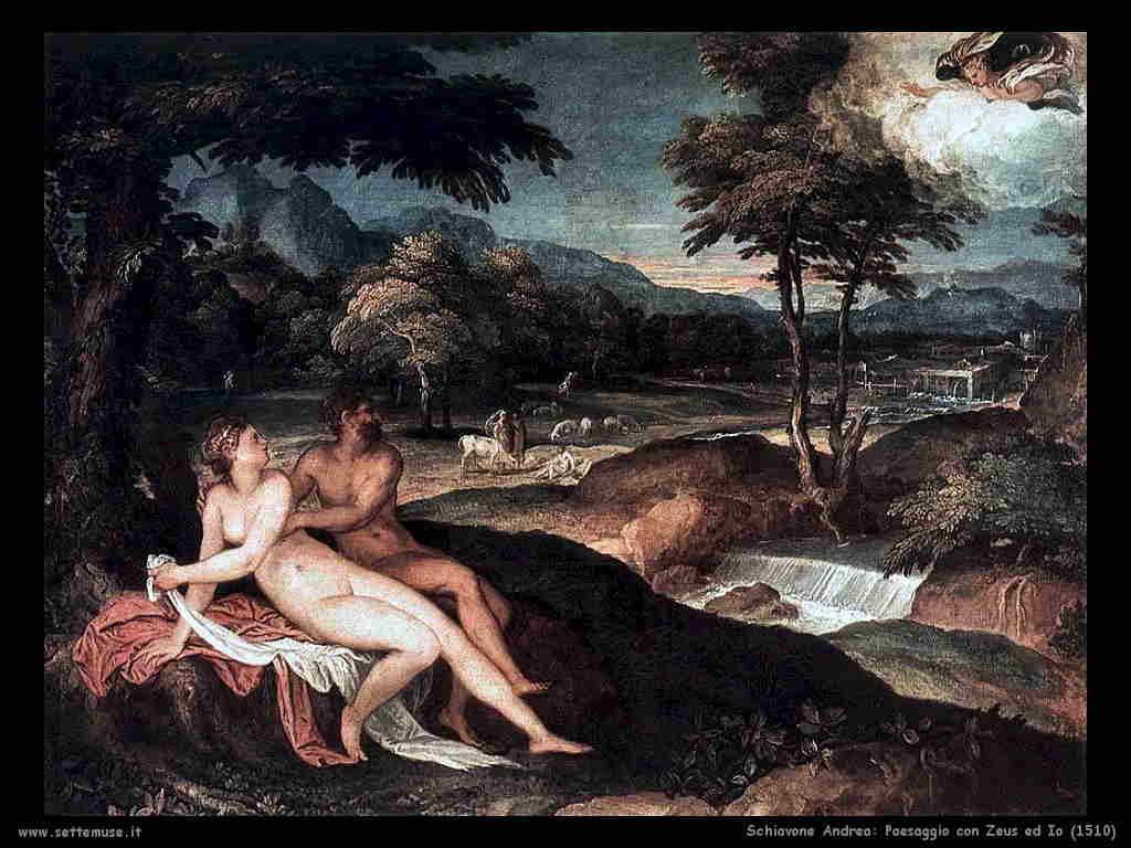 Andrea Schiavone: Paesaggio con Zeus ed Io (1510)