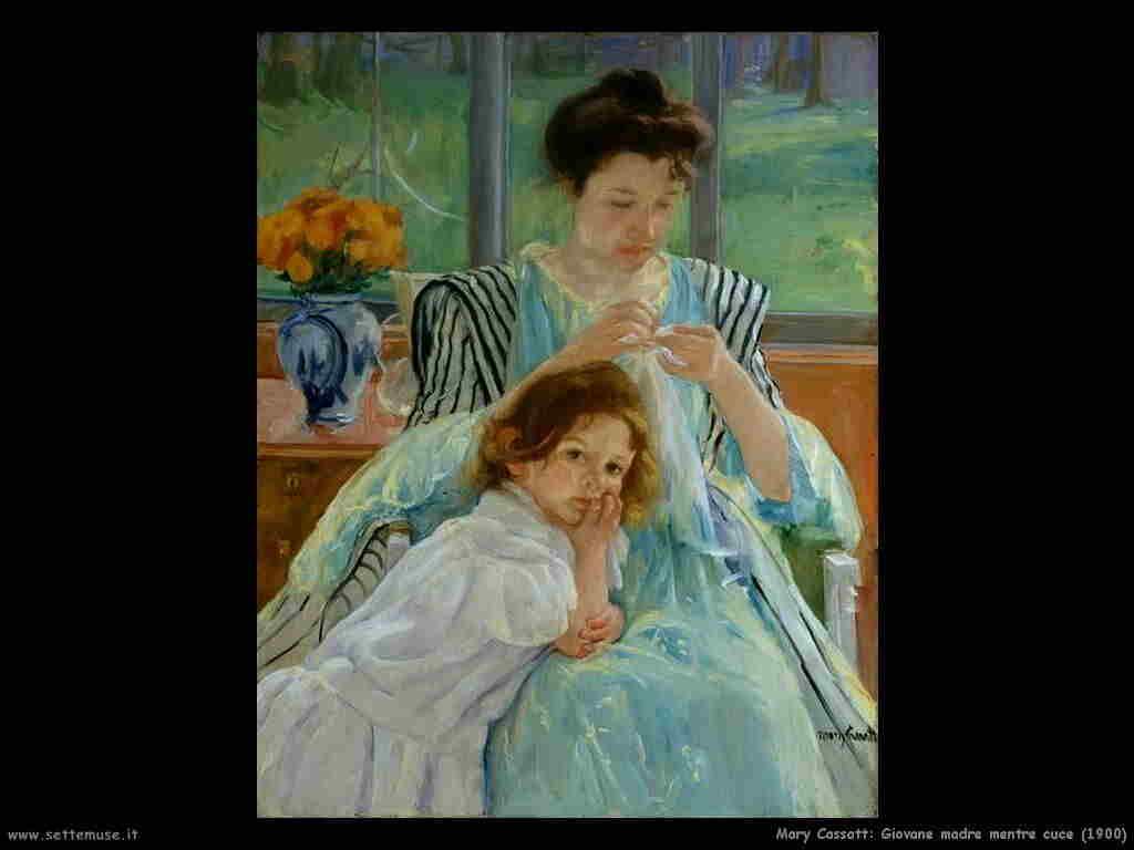 Mary Cassatt Giovane madre mentre cuce (1900)