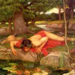Narciso -particolare del quadro di Waterhouse