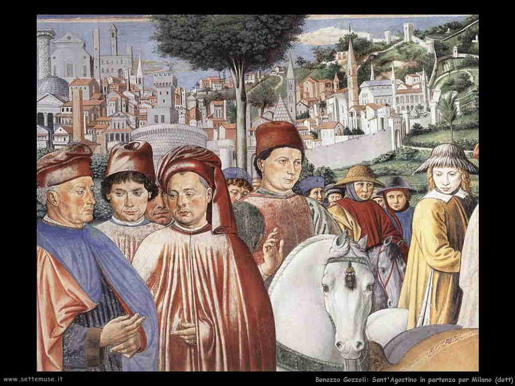 Benozzo Gozzoli: sant'Agostino parte da Milano (dett)