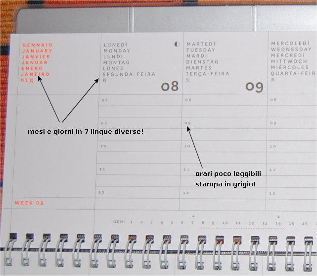 agenda settimanale in 7 lingue illeggibile