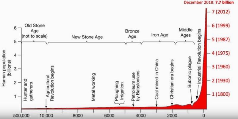 grafico della crescita umanità dalle origini