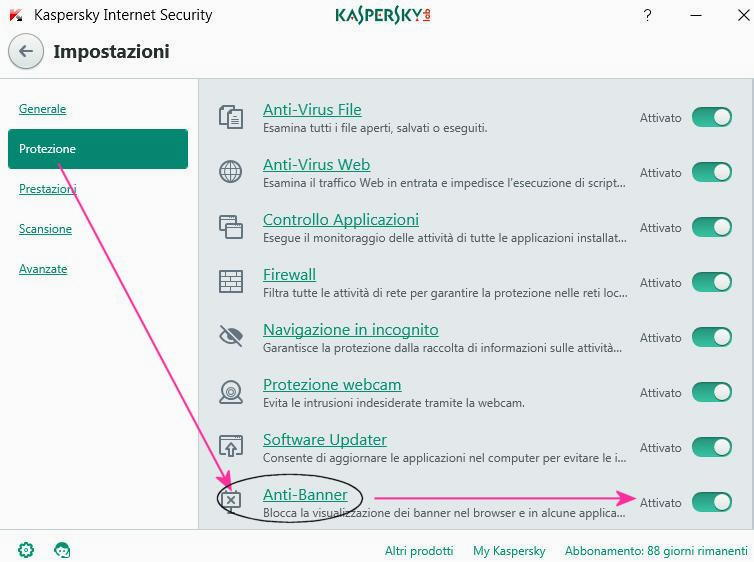Opzione blocco banner Kaspersky