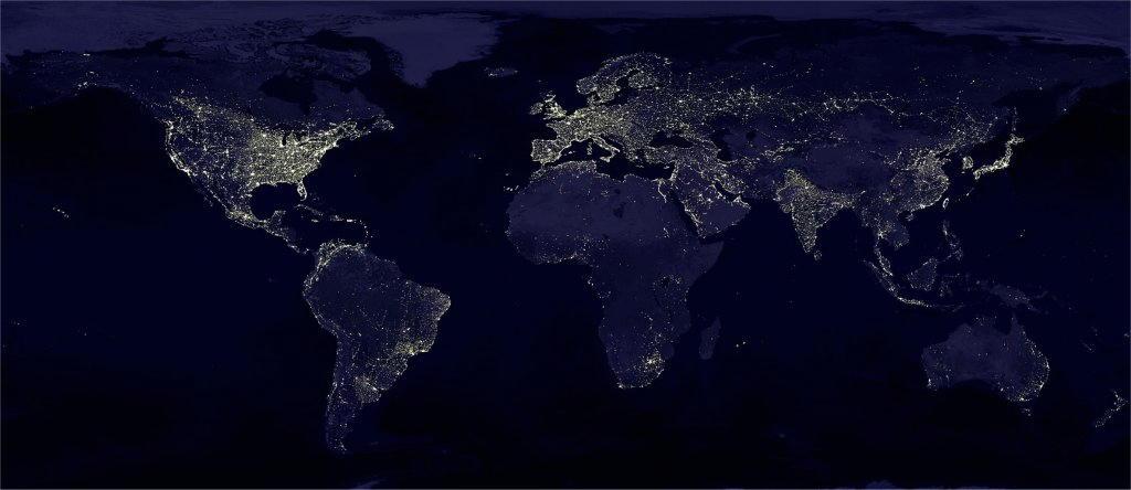 Le zone illuminate elettricamente della Terra