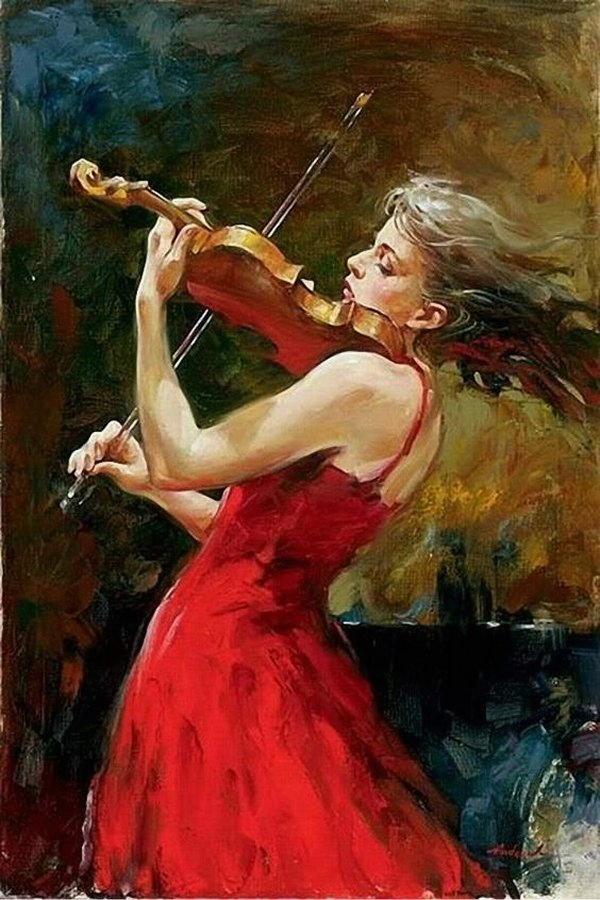 donne eleganti e musiciste Andrew Atroshenko