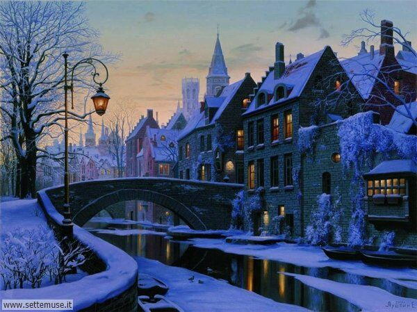 paesaggi con neve Evgeny Lushpin
