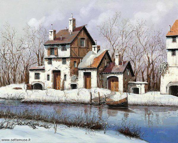 paesaggi con neve Guido Borelli