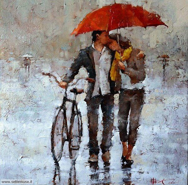 gente sotto la pioggia dipinti di Andre Kohn
