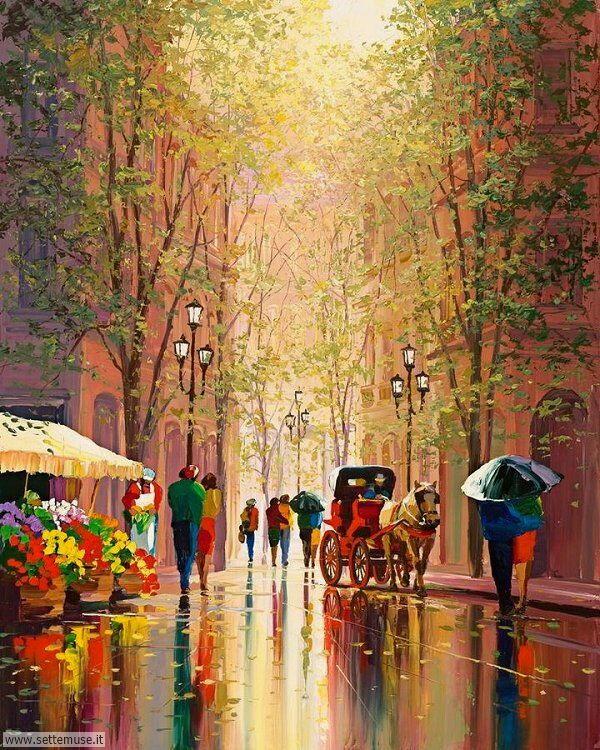 gente sotto la pioggia dipinti di Charles Pabst