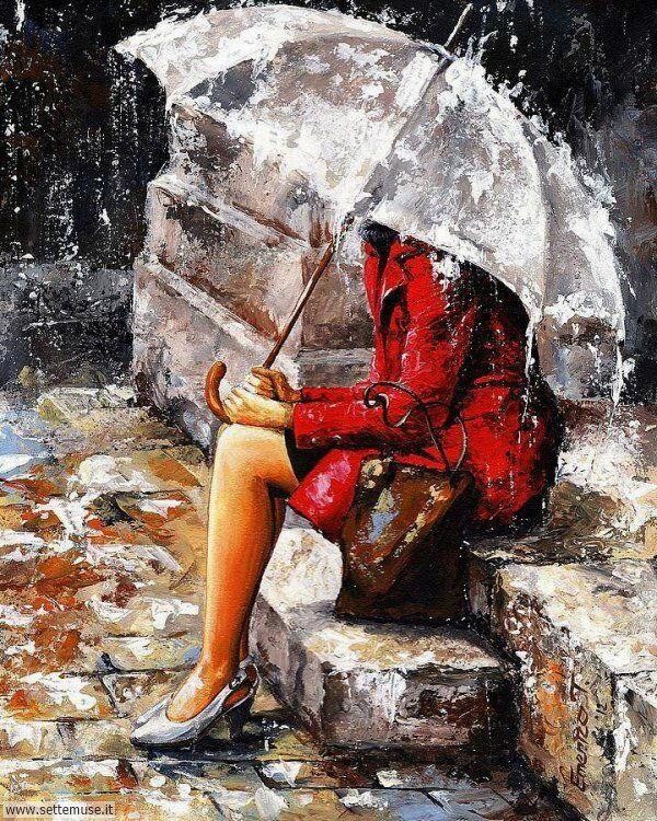 gente sotto la pioggia dipinti di Emerico Toth