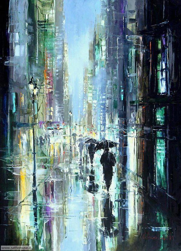 gente sotto la pioggia dipinti di Gleb Goloubetski 3