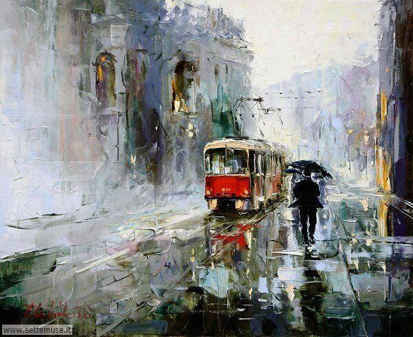 gente sotto la pioggia dipinti di Gleb Goloubetski