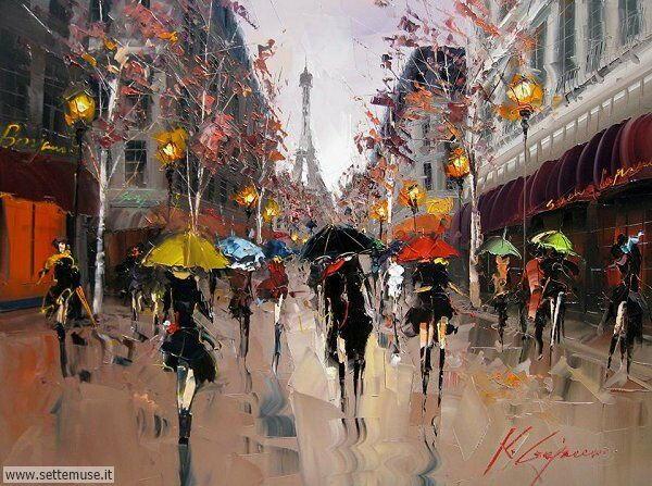 gente sotto la pioggia dipinti di Kal Gajoum