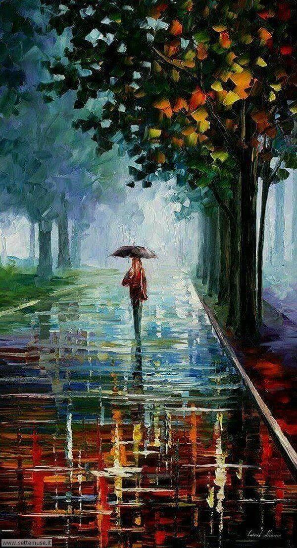 gente sotto la pioggia dipinti di Leonid Afremov 2