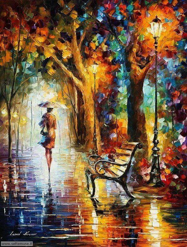 gente sotto la pioggia dipinti di Leonid Afremov