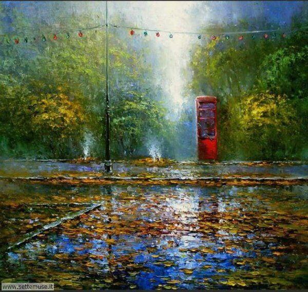 gente sotto la pioggia dipinti di Oleg Tokarev