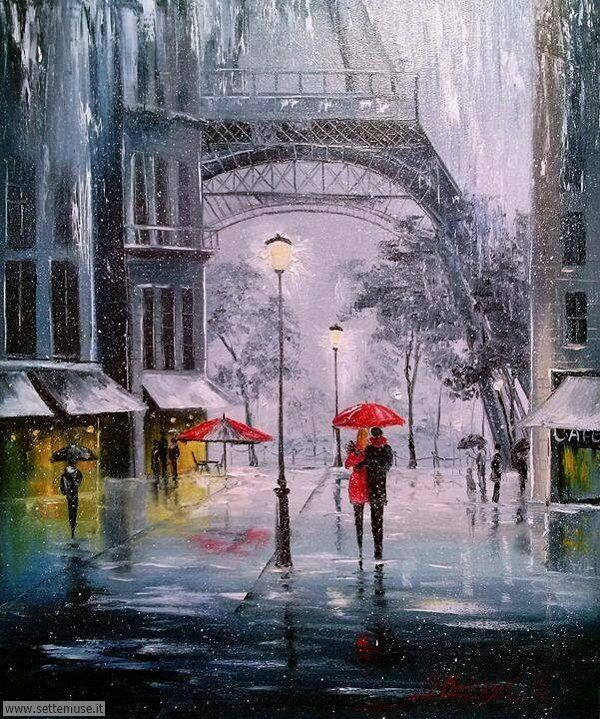 gente sotto la pioggia dipinti di Olga Darchuk