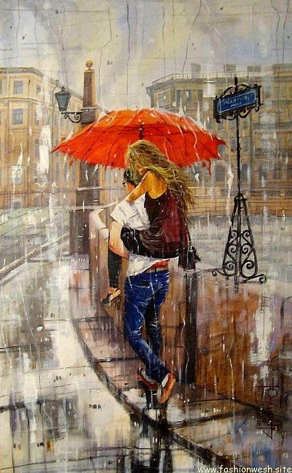 gente sotto la pioggia dipinti 1