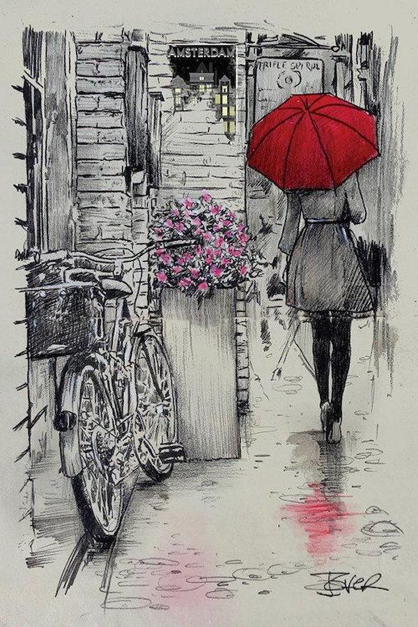 gente sotto la pioggia dipinti 5