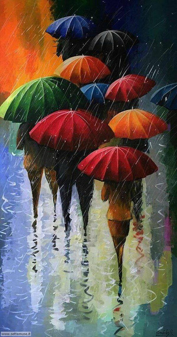 gente sotto la pioggia dipinti di Stanislav Sidorov