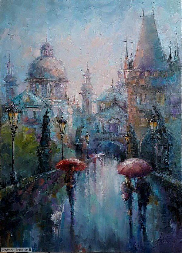 gente sotto la pioggia dipinti di Victoria Lapteva