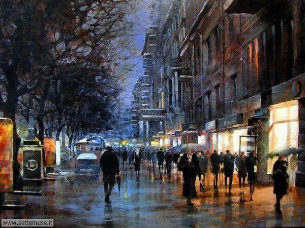 gente sotto la pioggia dipinti di Vitaly Petrovsky