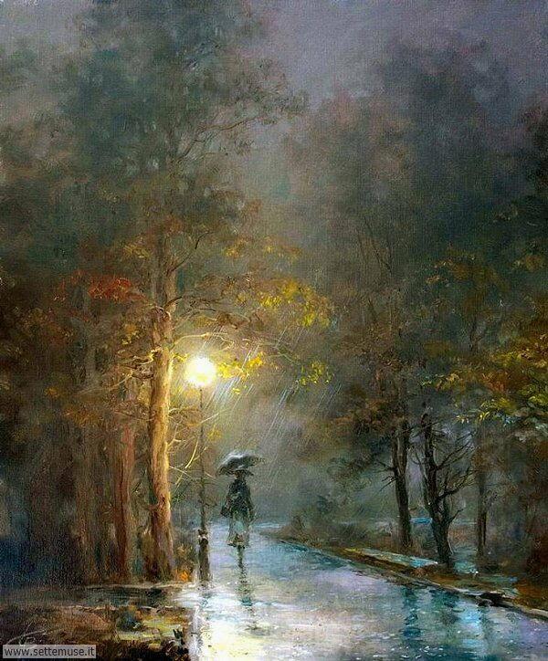gente sotto la pioggia dipinti di Wlodzimierz Czurawski