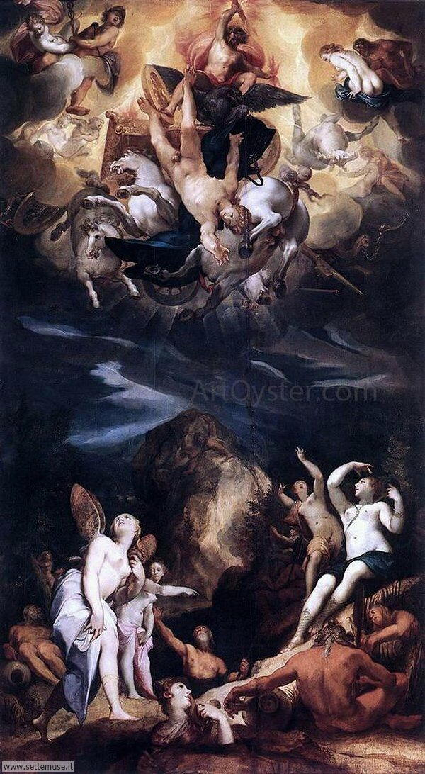 bellissimi affreschi Caduta di Fetonte di Joseph Heintz