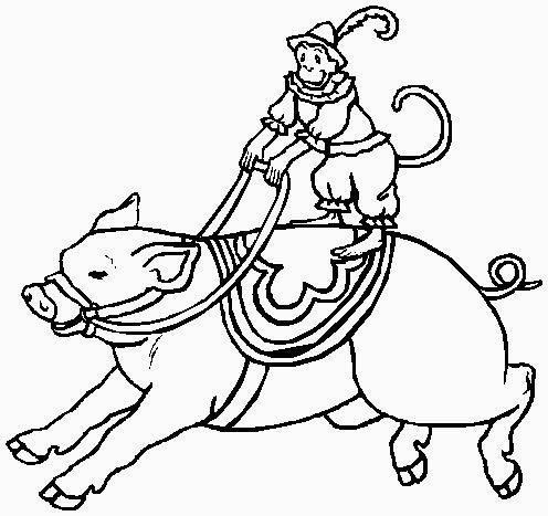 scimmia cavalca porcellino