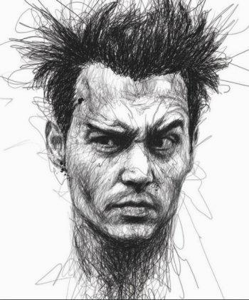 Disegno di viso uomo 3