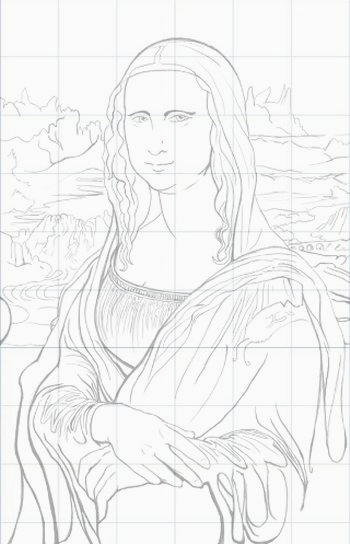 Come disegnare la Gioconda, una bozza dal sito di settemuse.it su Nuove Vedute.com