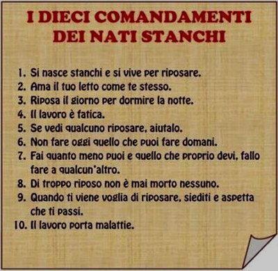 Vignetta dieci comandamenti stanchi