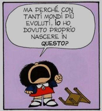 Vignetta mafalda con tanti mondi evoluti