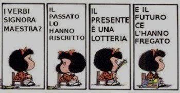 Immagine spiritosa Mafalda i verbi