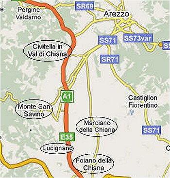 Valdichiana mappa
