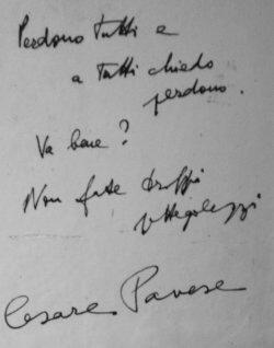 Lettera del suicidio di Cesare Pavese