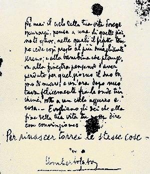 Biografia di Umberto Saba, scritto autografo