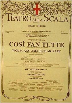 Così fan tutte di Wolfgang Amadeus Mozart alla Scala di Milano