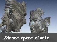 strane opere arte 3D street-art sassi, legno scolpito, architettura e design