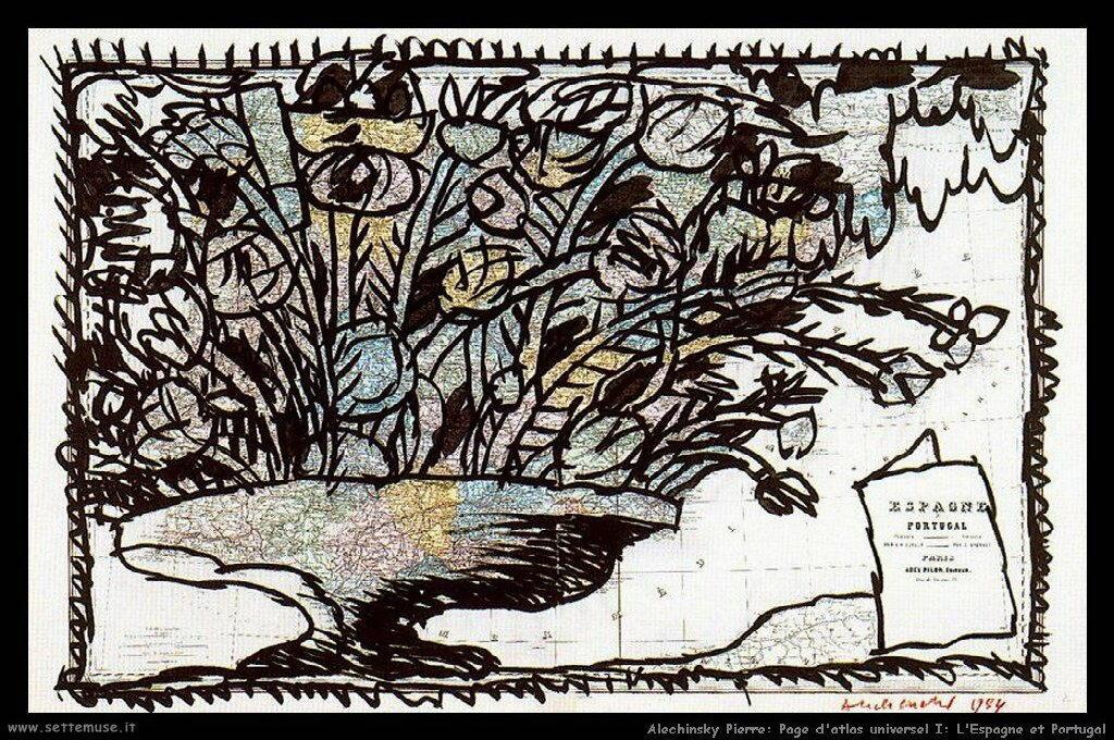 alechinsky_pierre_027_page_d_atlas_universel_I_espagne_et_portugal