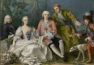 Biografia di Amigoni Jacopo autoritratto con Farinelli e gli amici