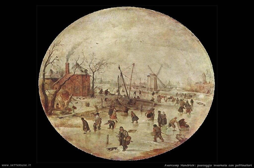 Paesaggio invernale con pattinatori