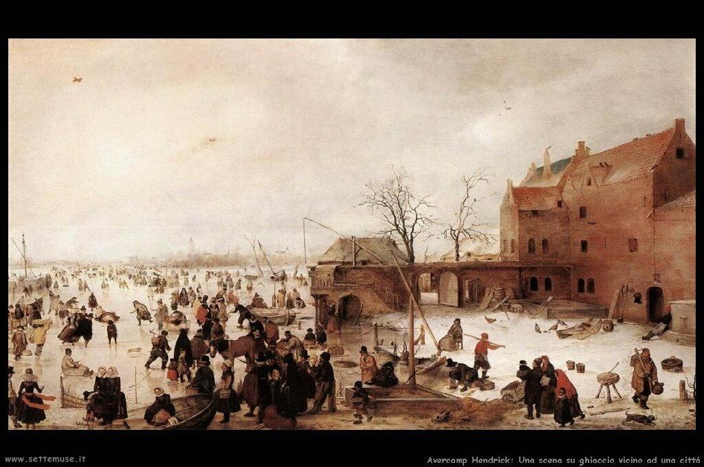 Scena su ghiaccio vicino ad una città