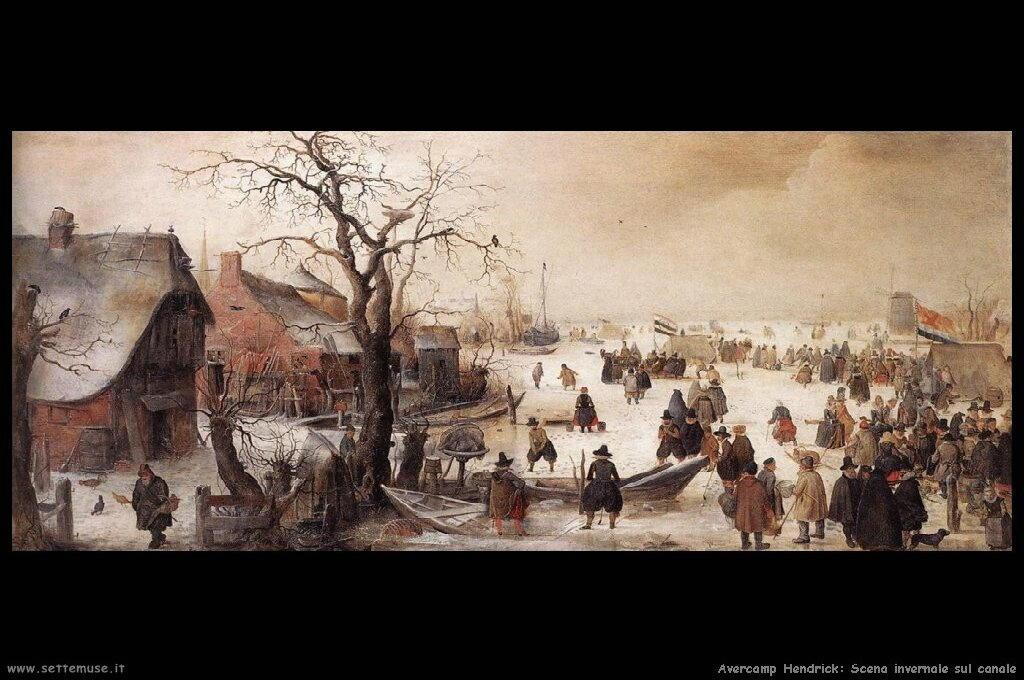 Scena invernale con canale